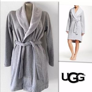 UGG BLANCHE GREY FLEECE LINED ROBE SZ S